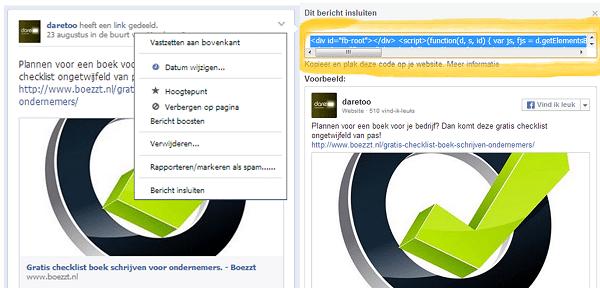 facebook update embedden