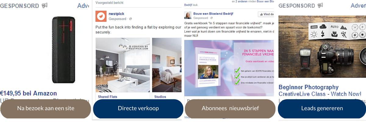 voorbeelden Facebook advertenties