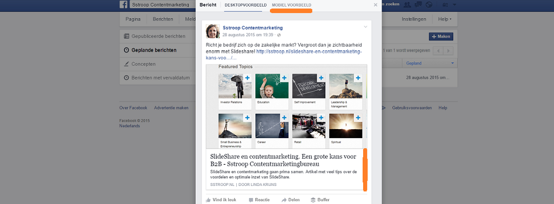 content promotie op Facebook