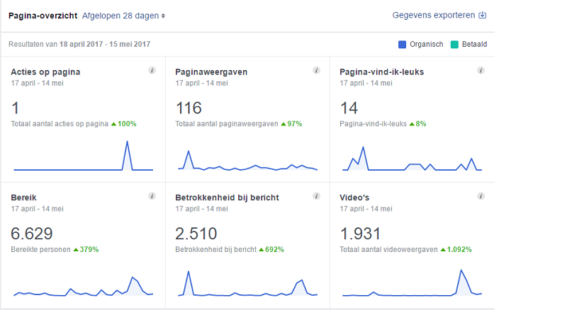 Facebook statistieken overzicht