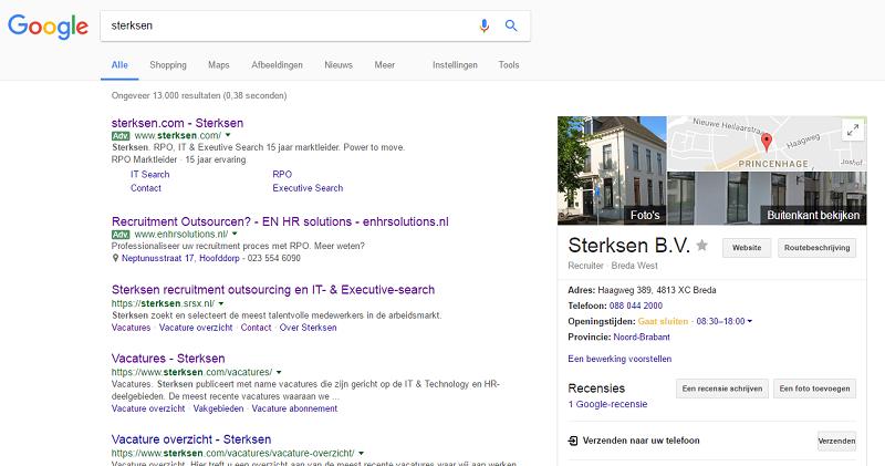 saai resultaat op pagina 1 google