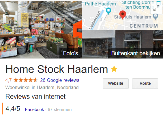 Facebook recensies op Google maken dat die recensies ook zichtbaar zijn als iemand je bedrijf googelt